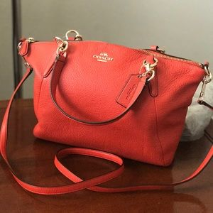 New Coach leather  small orange red Bag
